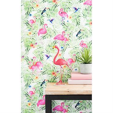 Papier peint intissé imprimé tropical H 1005 x L 53 cm ACAPULCO