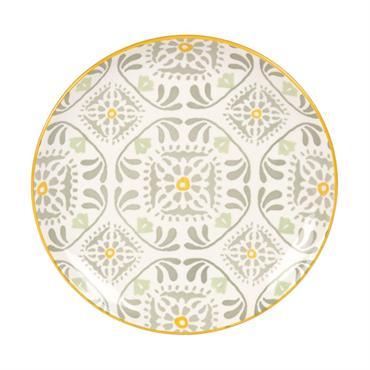 Assiette à dessert en faïence blanche motifs jaune