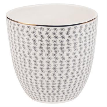 Pot en céramique blanche et noire à motifs H16