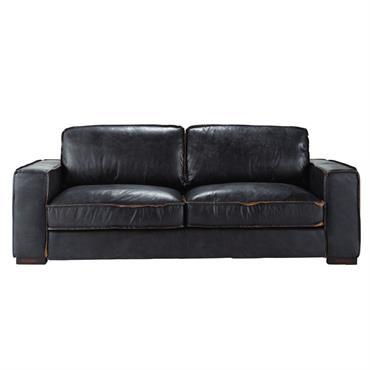Canapé-lit 3 places en cuir noir Colonel