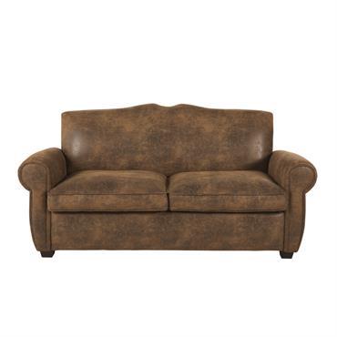 Canapé-lit 2 places en suédine marron