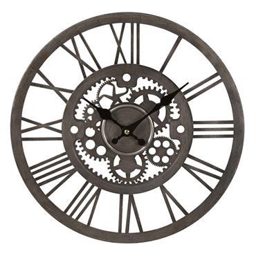 Horloge rouages en métal argenté