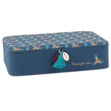 Boîte à bijoux bleue imprimé oiseau tropical