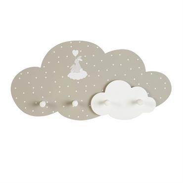Patère nuage 4 crochets blanc et beige à motifs