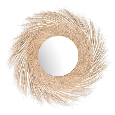 Miroir rond en fibre de coco D110