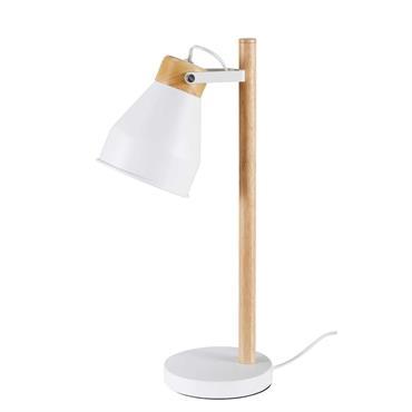 Lampe de bureau en hévéa et métal blanc