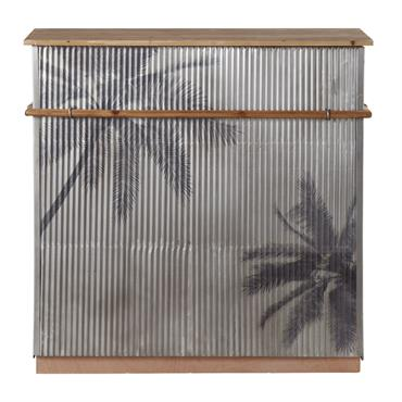 Bar en sapin massif et métal ondulé gris imprimé palmiers Santa Cruz