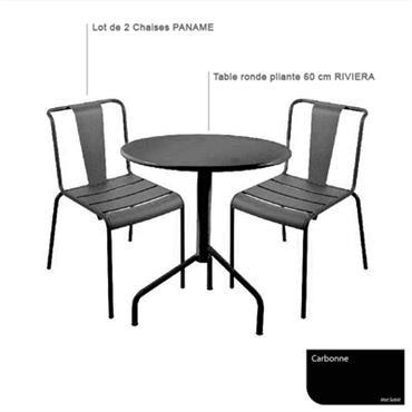Ensemble table Riviera et 2 chaises Paname