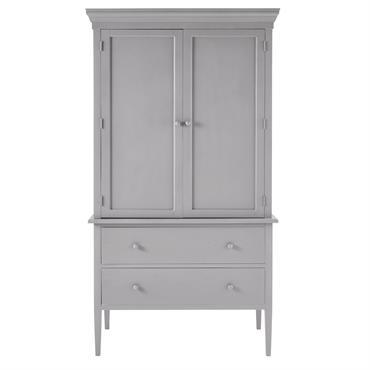 Garde-manger 2 portes 2 tiroirs en bouleau gris Hortense