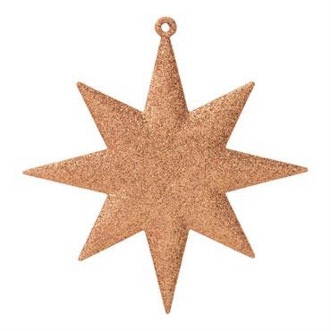 Suspension de Noël étoile à paillettes cuivrées