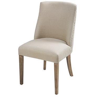 Chaise en lin coloris lin et chêne blanchi Diane