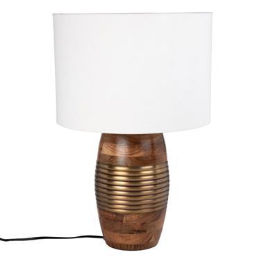 Lampe en acacia et métal doré abat-jour blanc