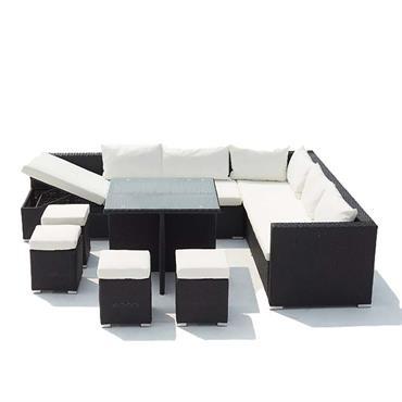 Salon de jardin encastrable 10 places en résine noir/blanc