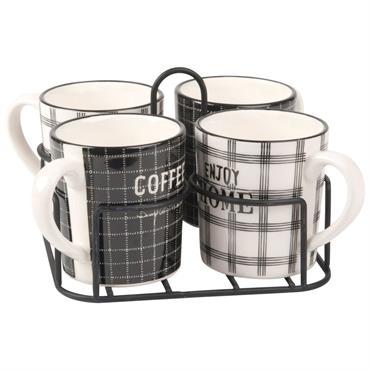 Plateau 4 mugs en faïence imprimée