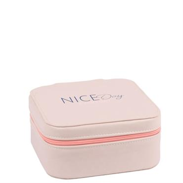 Boîte à bijoux écrue et pompon rose