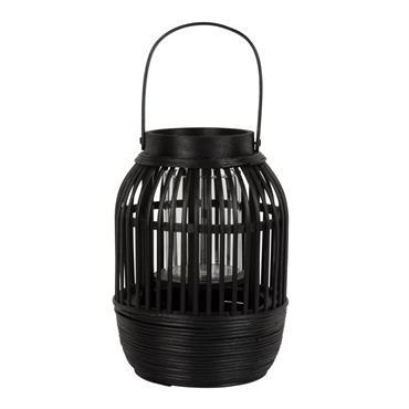 Lanterne en bambou tressé noir H19