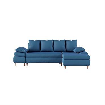 Canapé d'angle droit convertible 5 places en tissu bleu