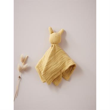 Doudou gaze de coton moutarde