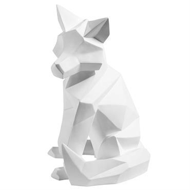 Statuette renard blanc mat H