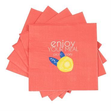 Serviettes en papier orange imprimé fruits