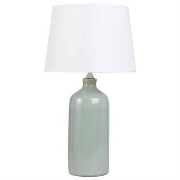 Lampe en céramique bleue et abat-jour écru