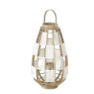 Lanterne en bambou blanc et verre