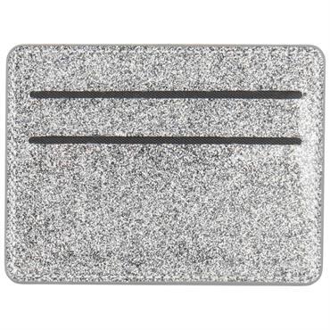 Porte-cartes en coton gris à paillettes argentées imprimé feuillage