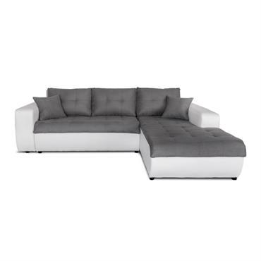 Canapé d'angle droit convertible bi-matière blanc/gris