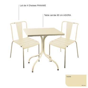 Ensemble table carrée Agora et 4 chaises Paname