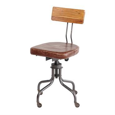 Chaise de bureau indus en cuir Janis