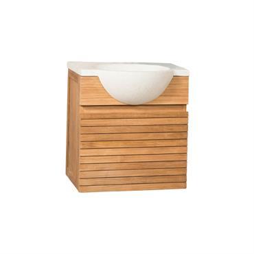Meuble salle de bain suspendu en teck et vasque crème L50cm