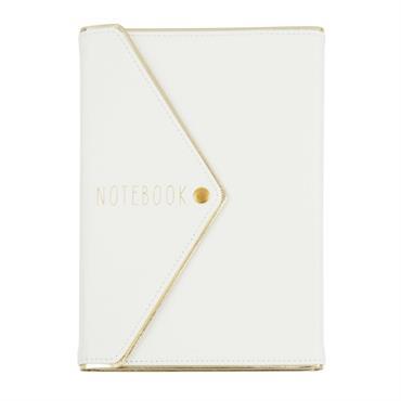 Carnet de notes avec pochette ivoire et doré