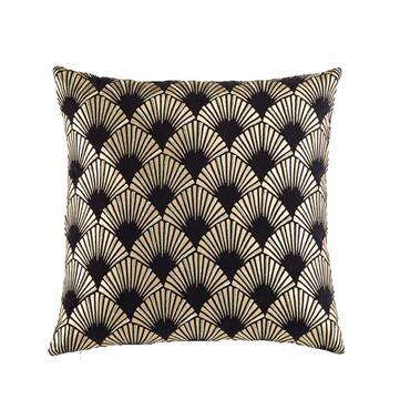 Coussin en coton noir motifs graphiques dorés 45x45