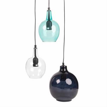 Suspension 3 globes en verre bleu et transparent