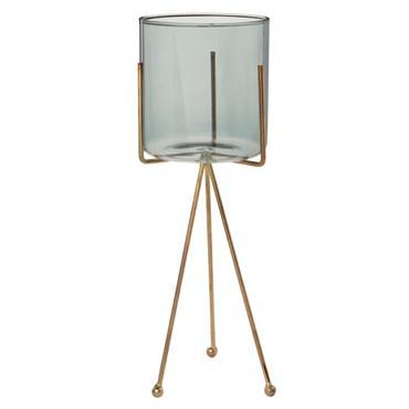 Photophore en verre teinté gris et support en métal doré