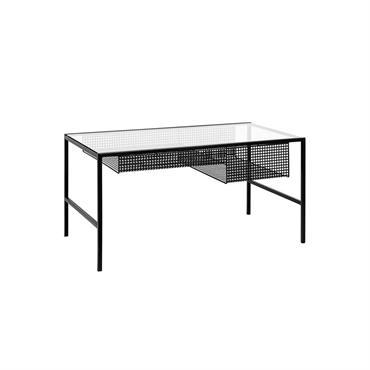 Table basse design avec casier métal et verre - Nordal