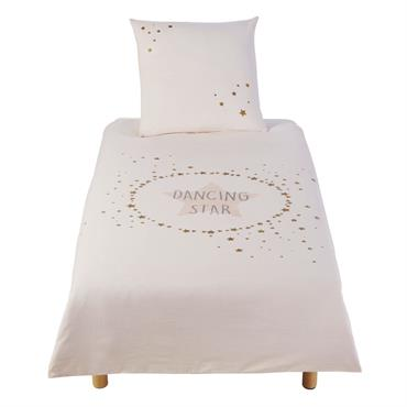Parure de lit enfant en coton imprimé écru