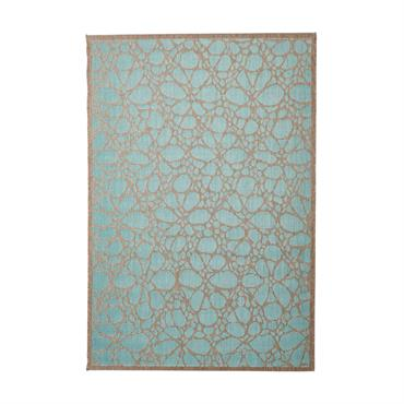 Tapis floral design en polypropylène bleu clair 160x230