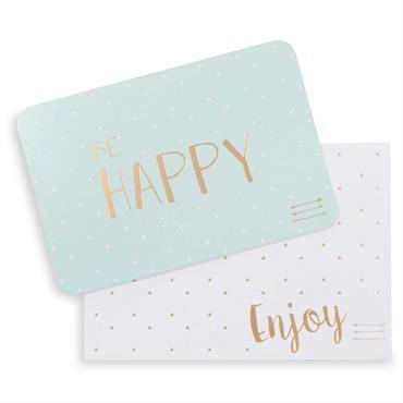 Carte et enveloppe verte et blanche 15x10cm HAPPY