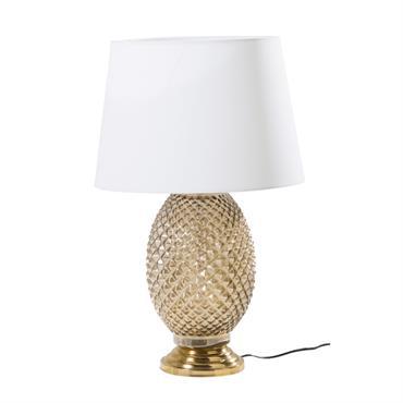 Lampe ananas en métal doré et abat-jour blanc