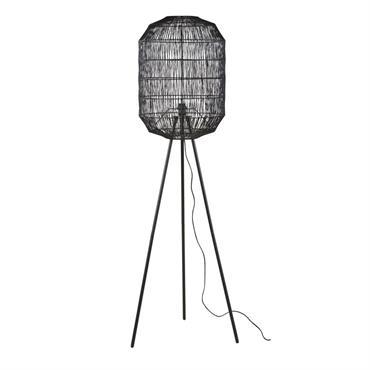 Lampadaire en métal et corde tressée noirs H158