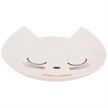 Coupelle à bijoux chat en céramique blanche et noire
