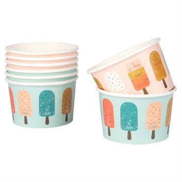 8 pots à glace en papier multicolore imprimé