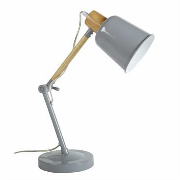 Lampe de bureau en métal gris et hévéa