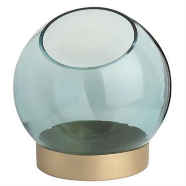 Lumignon bulle en verre teinté bleu et métal doré