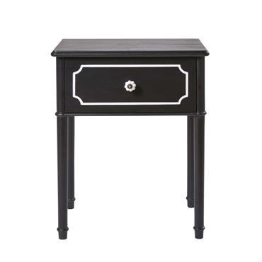 Table de chevet 1 tiroir noire et liseré blanc Luzia