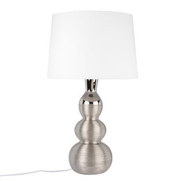 Lampe en céramique argentée et abat-jour écru