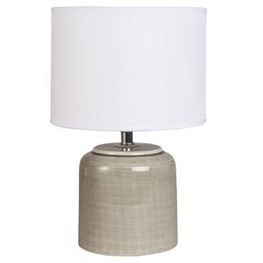 Lampe en céramique taupe abat-jour en coton écru