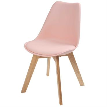 Chaise style scandinave rose pastel et chêne Ice