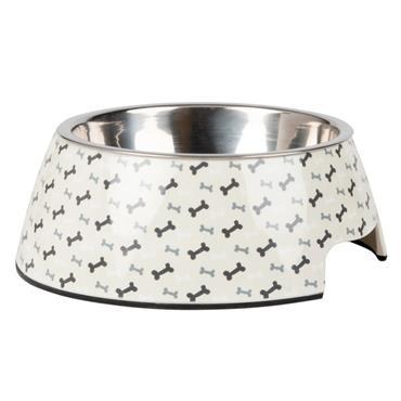 Gamelle pour chien en métal gris et blanc imprimé os